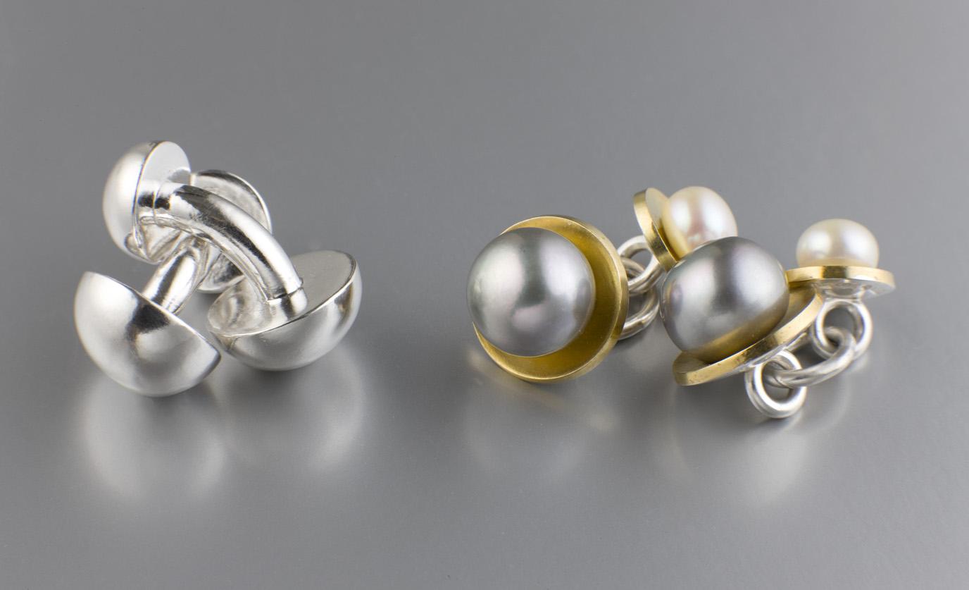 Manschettknappar, silver. Manschettknappar, silver, guld och sötvattenspärlor