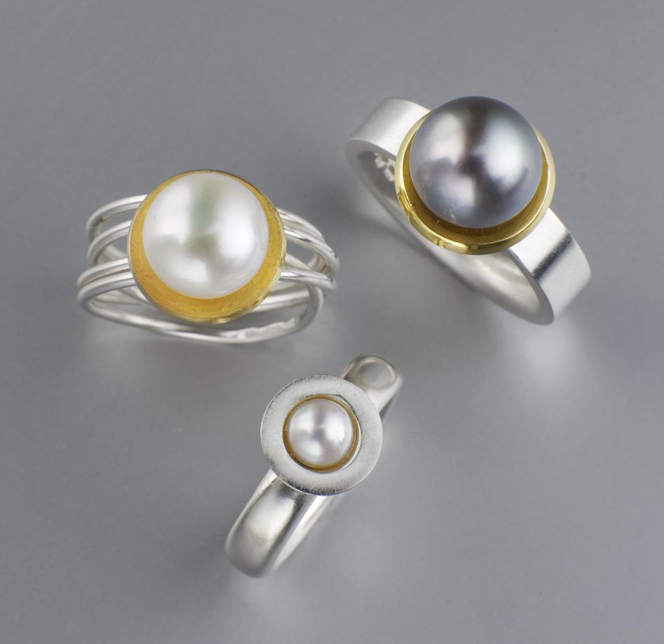Ringar, silver, guld, sötvattenspärlor