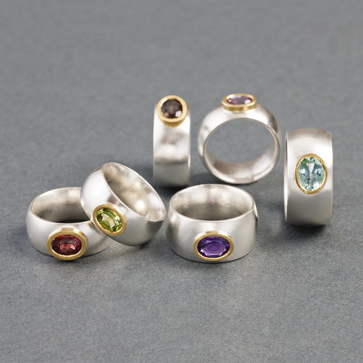Ringar, silver, 23k, diverse stenar.
