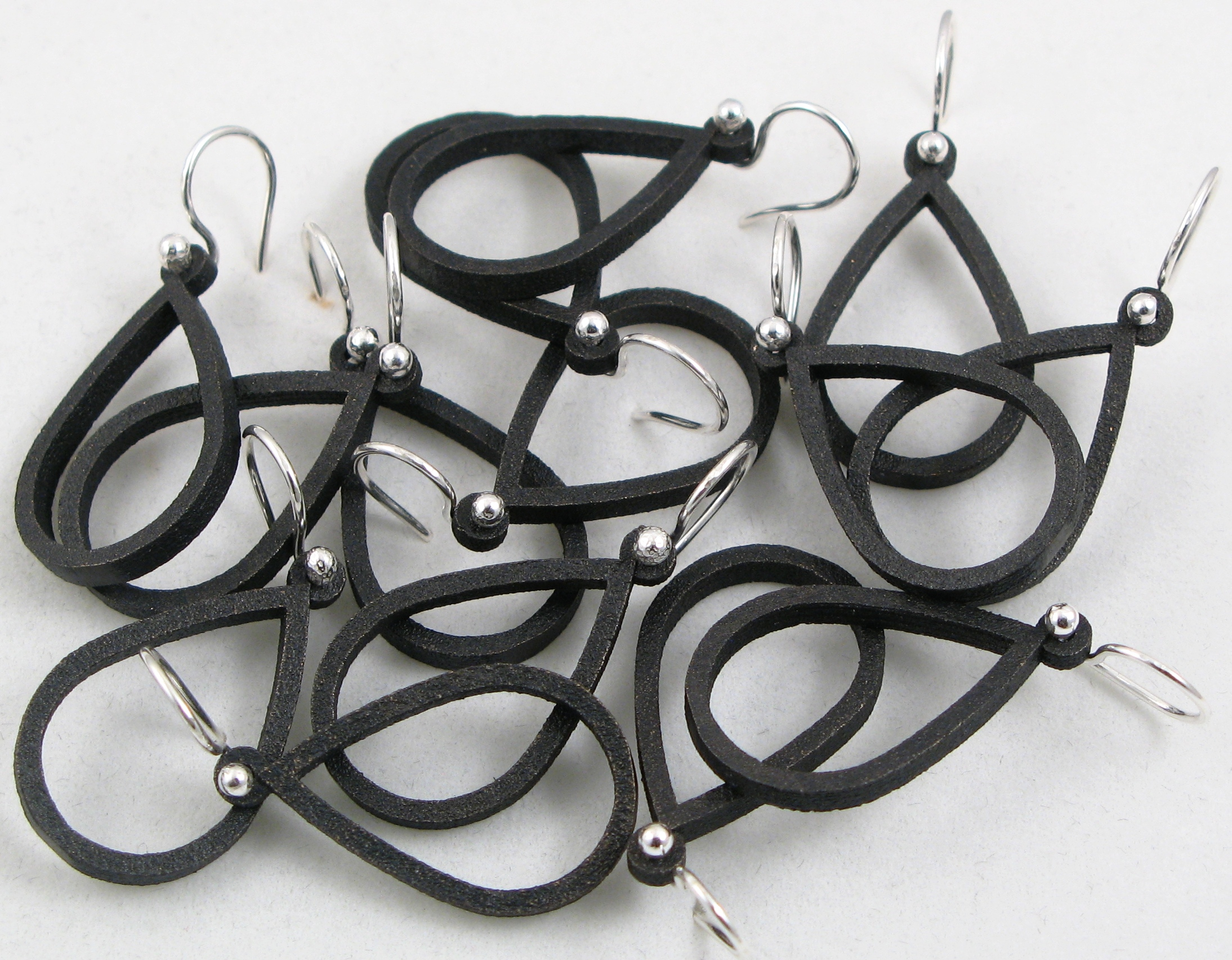 Örhängen, 3D-print, silver, stål/brons