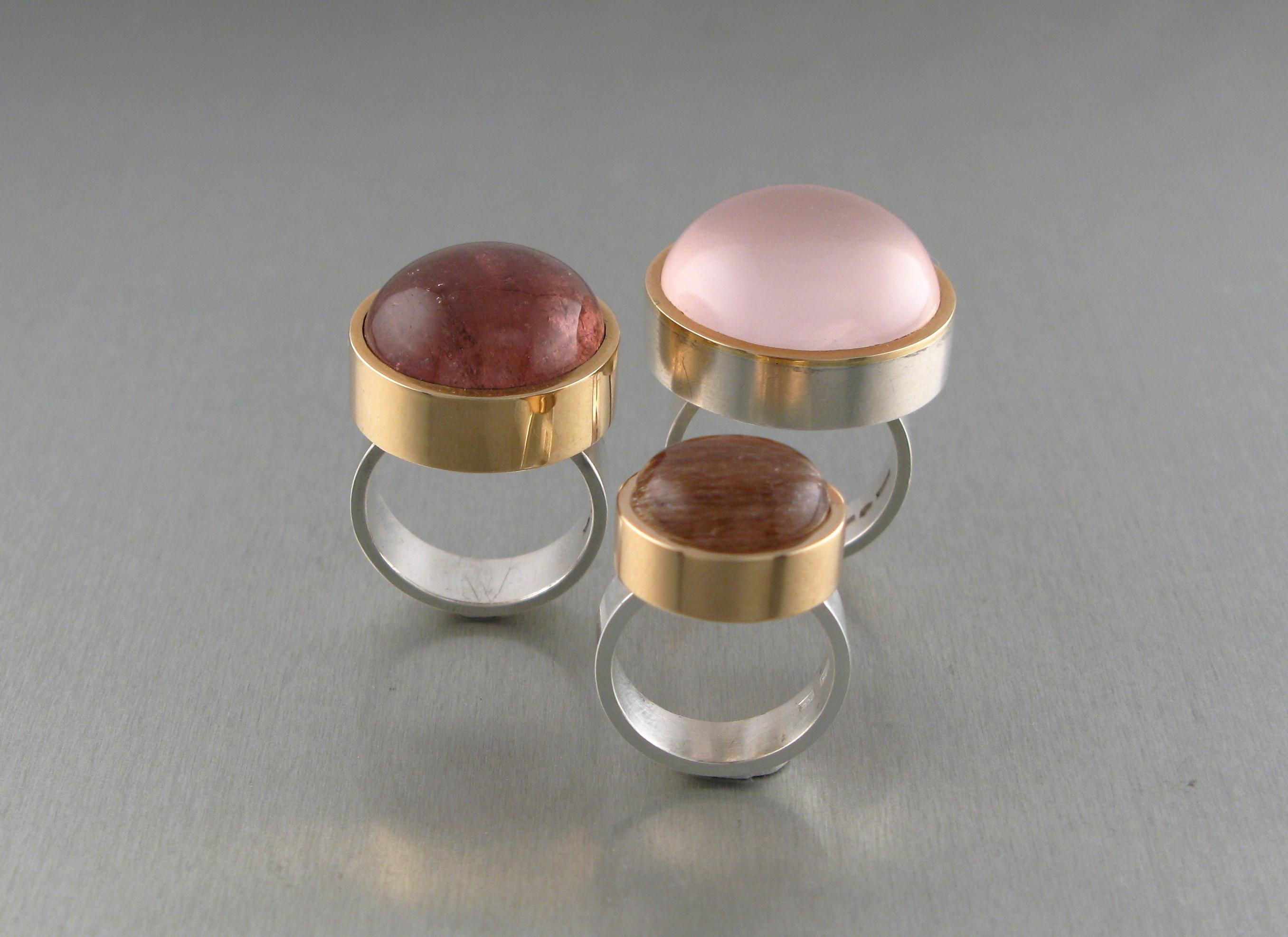 """Ringar, """"Halslös"""", silver, guld, turmaliner och rosakvarts"""