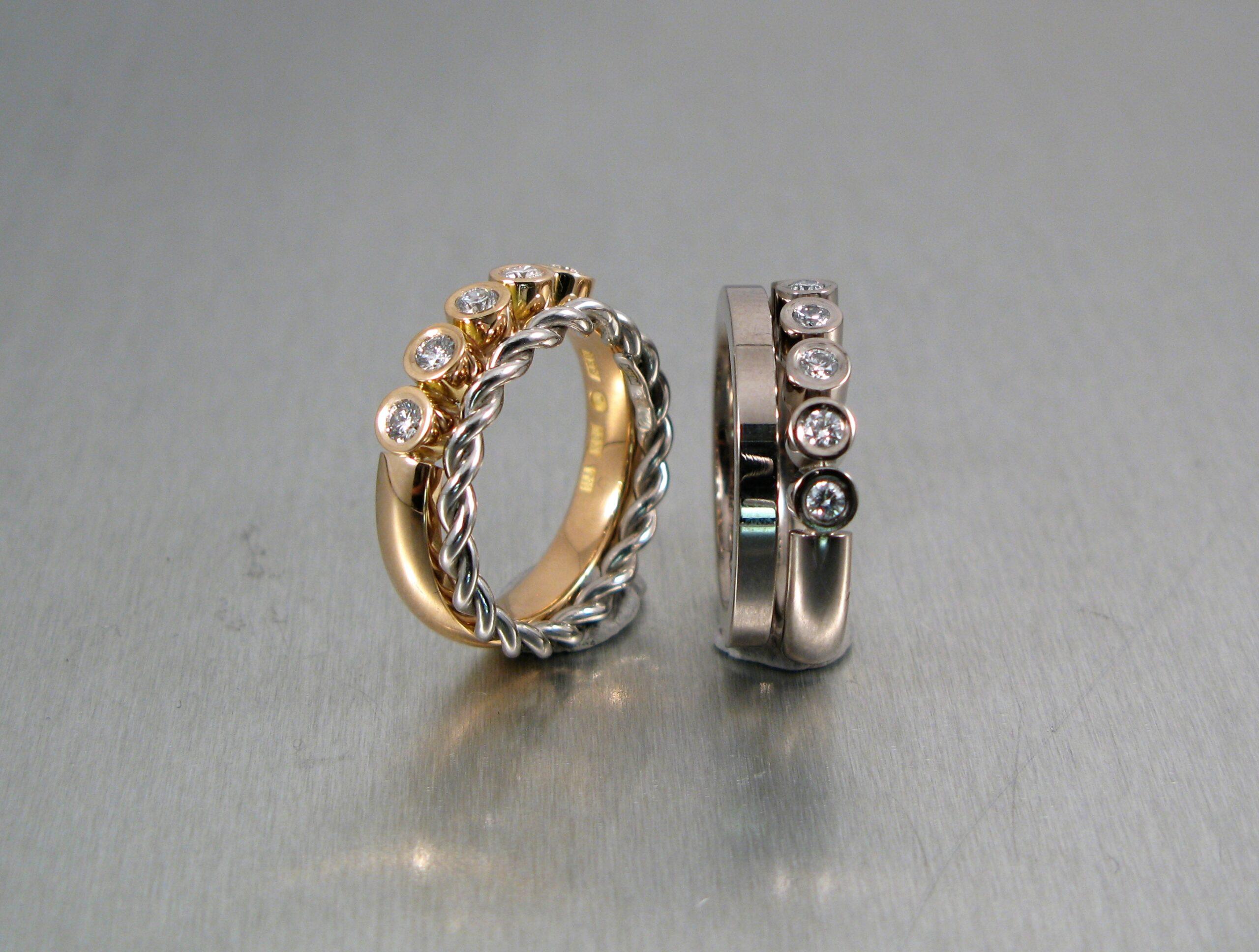 Alliancering, rött och vitt guld med rosenslipade naturfärgade diamanter