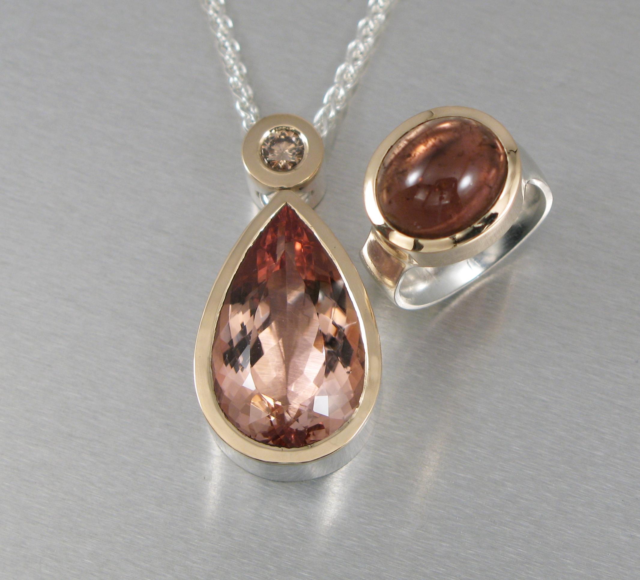 Hänge, silver, guld, morganit, brun diamant