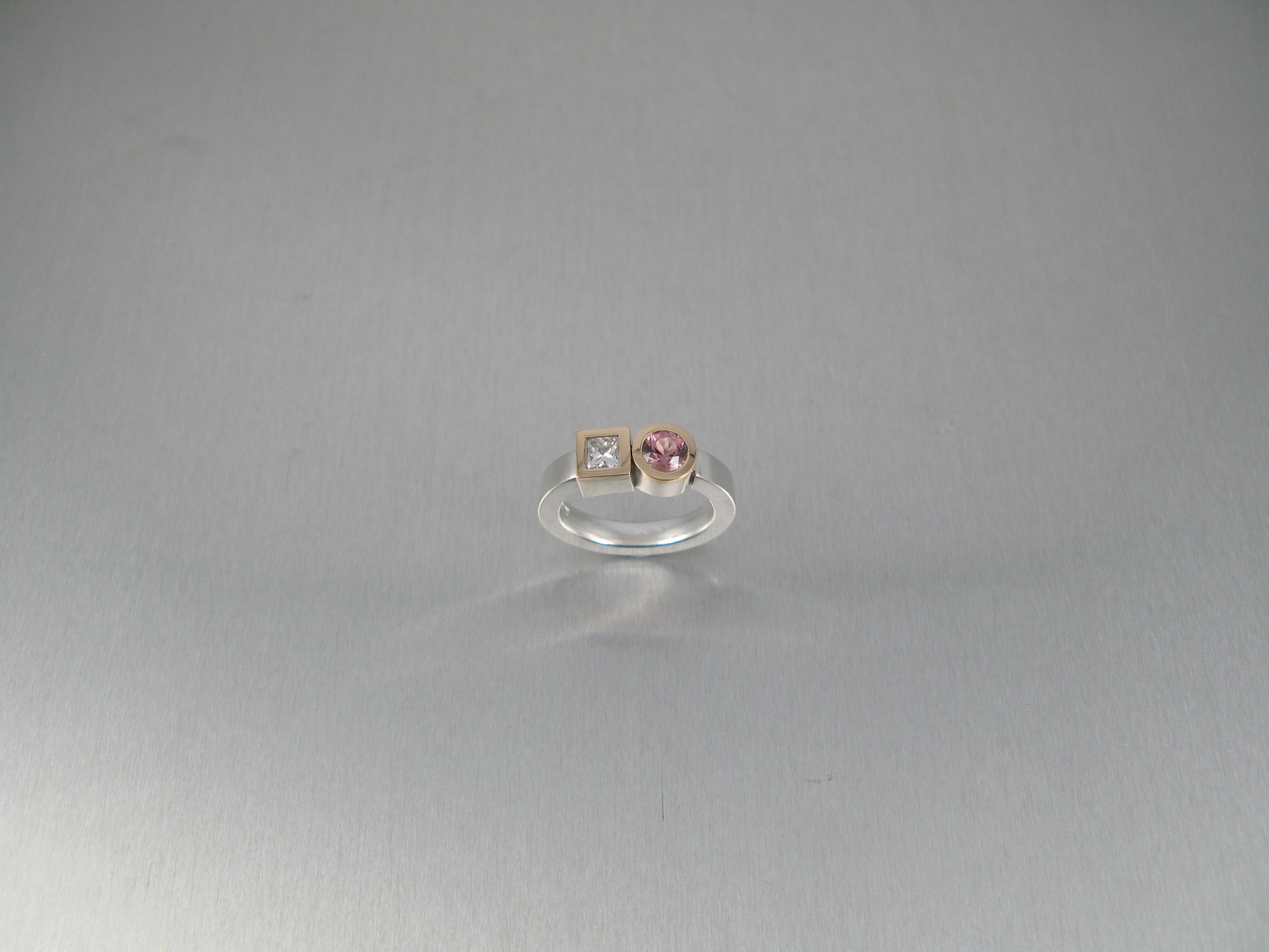 Ringar, silver, guld, princesslipad diamant och rosa turmalin