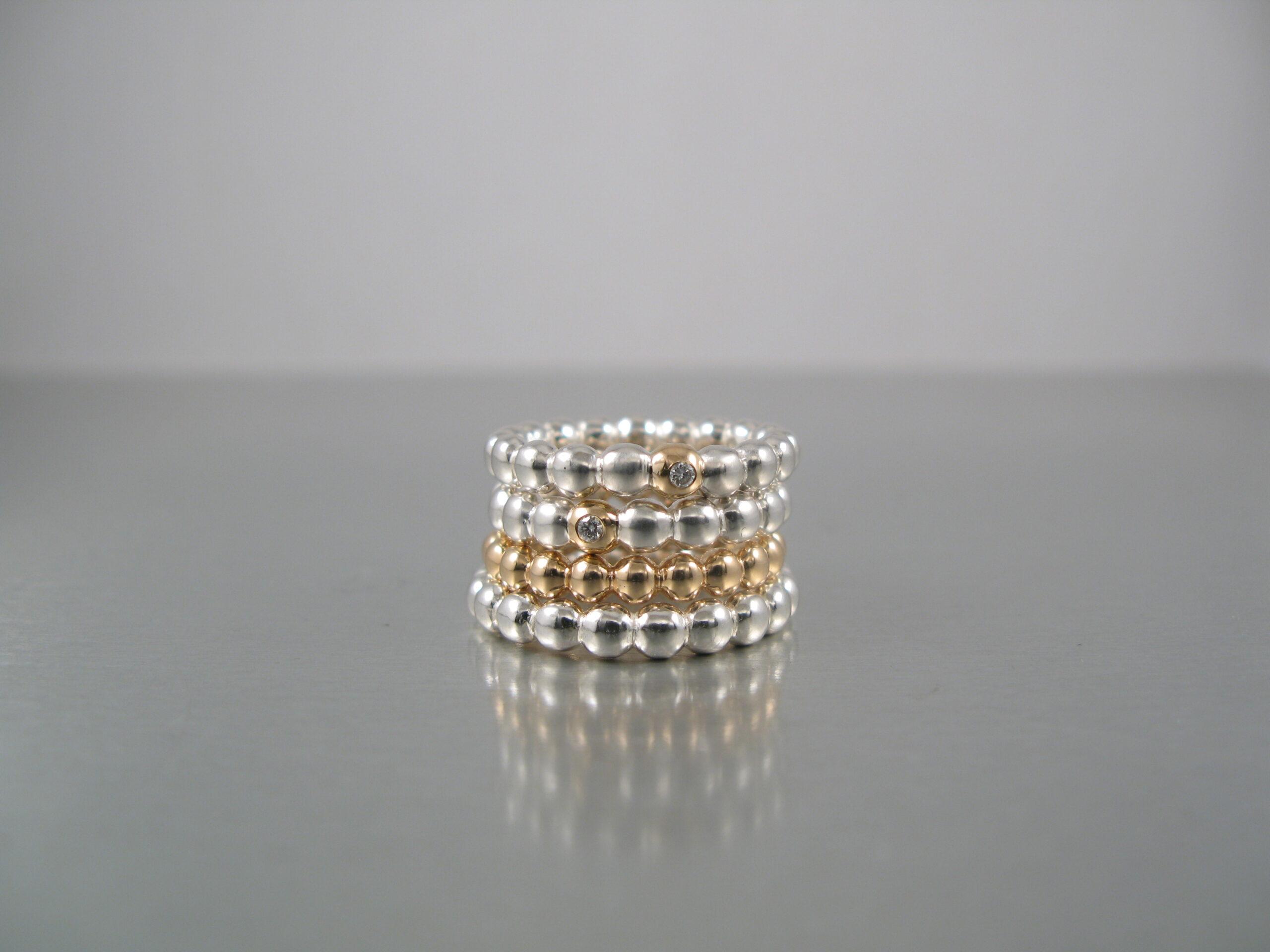 """Ringar """"Kulring"""", silver, guld och diamanter"""