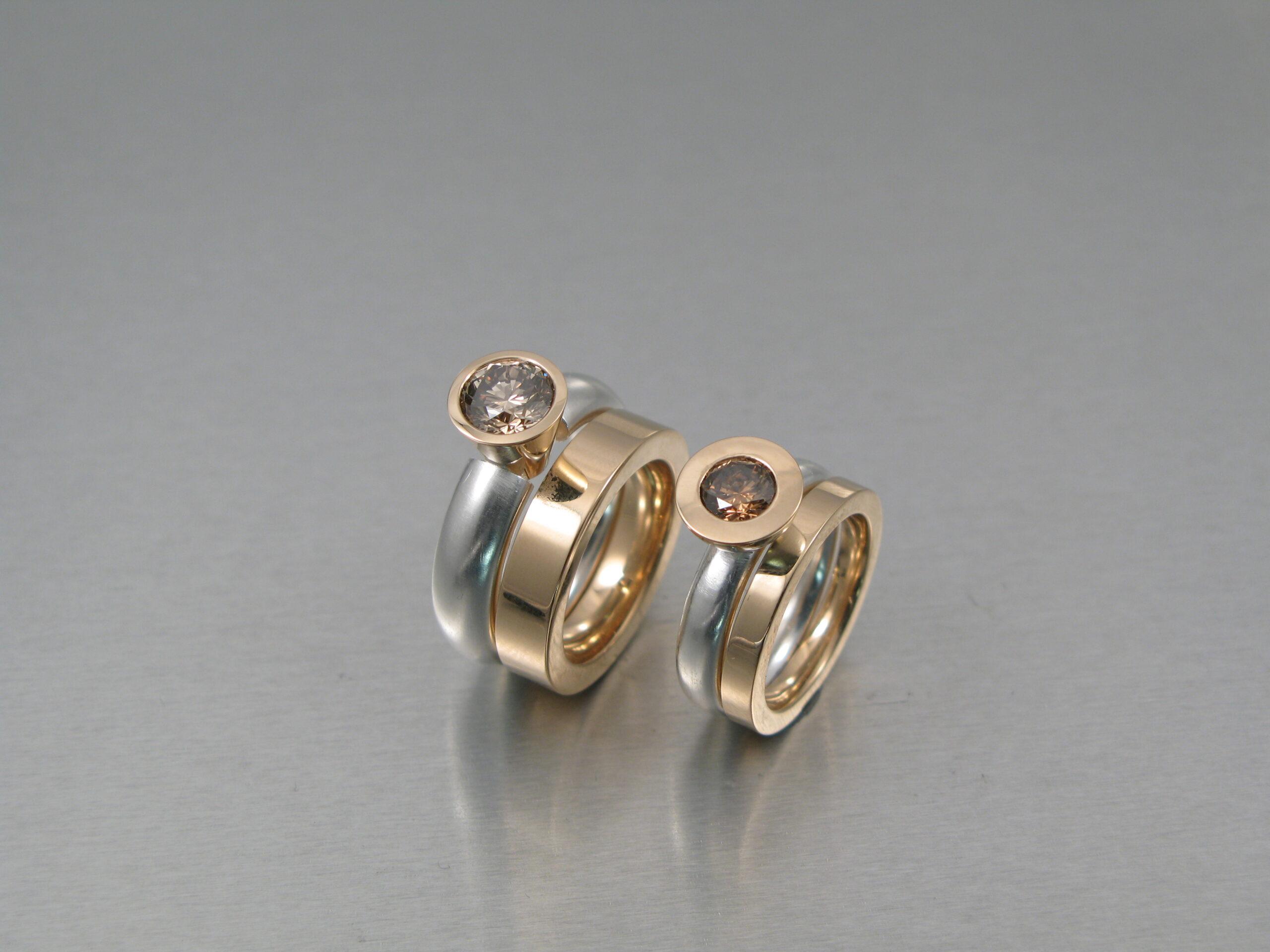 Ringar, silver, guld och diamanter