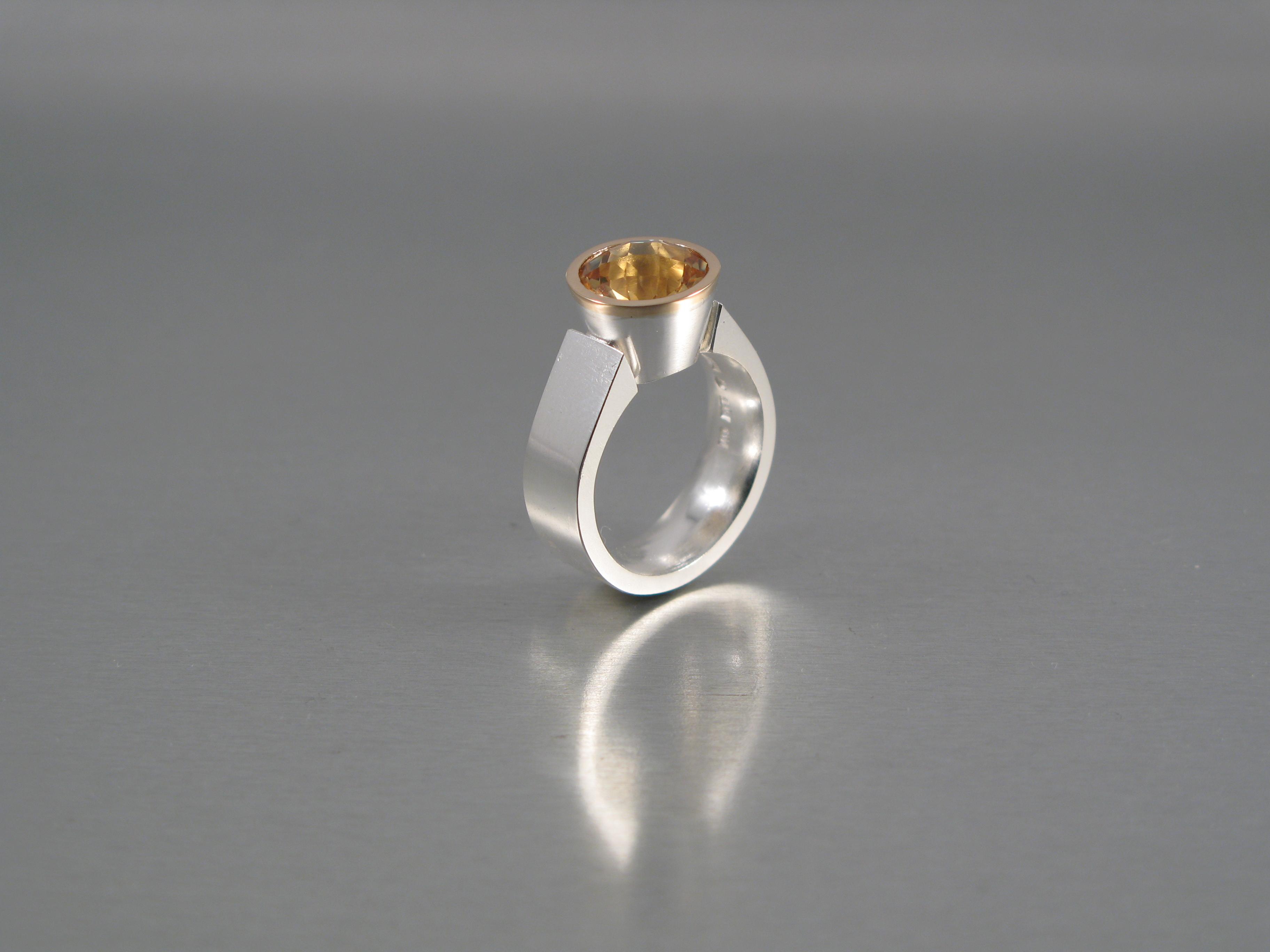 """Ring, """"Linus"""" silver, guld och citrin"""
