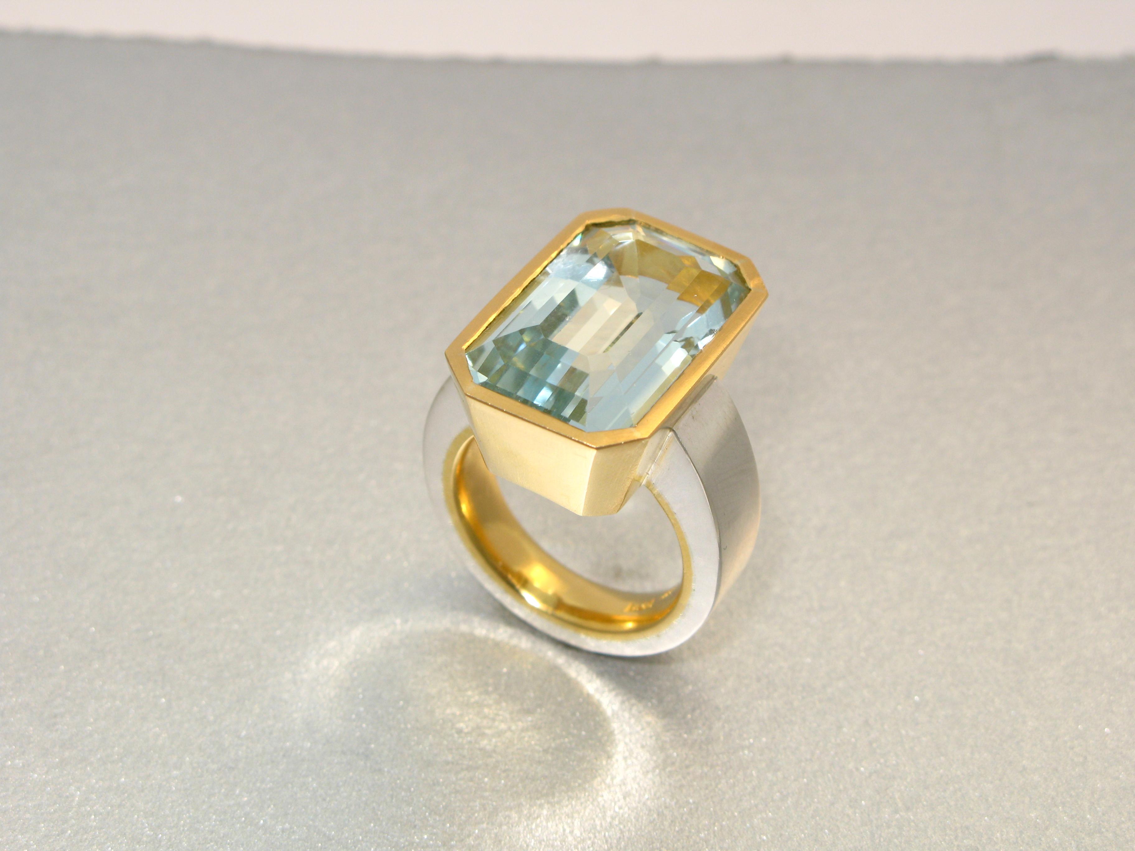 Ring, silver, 23k guld och akvamarin