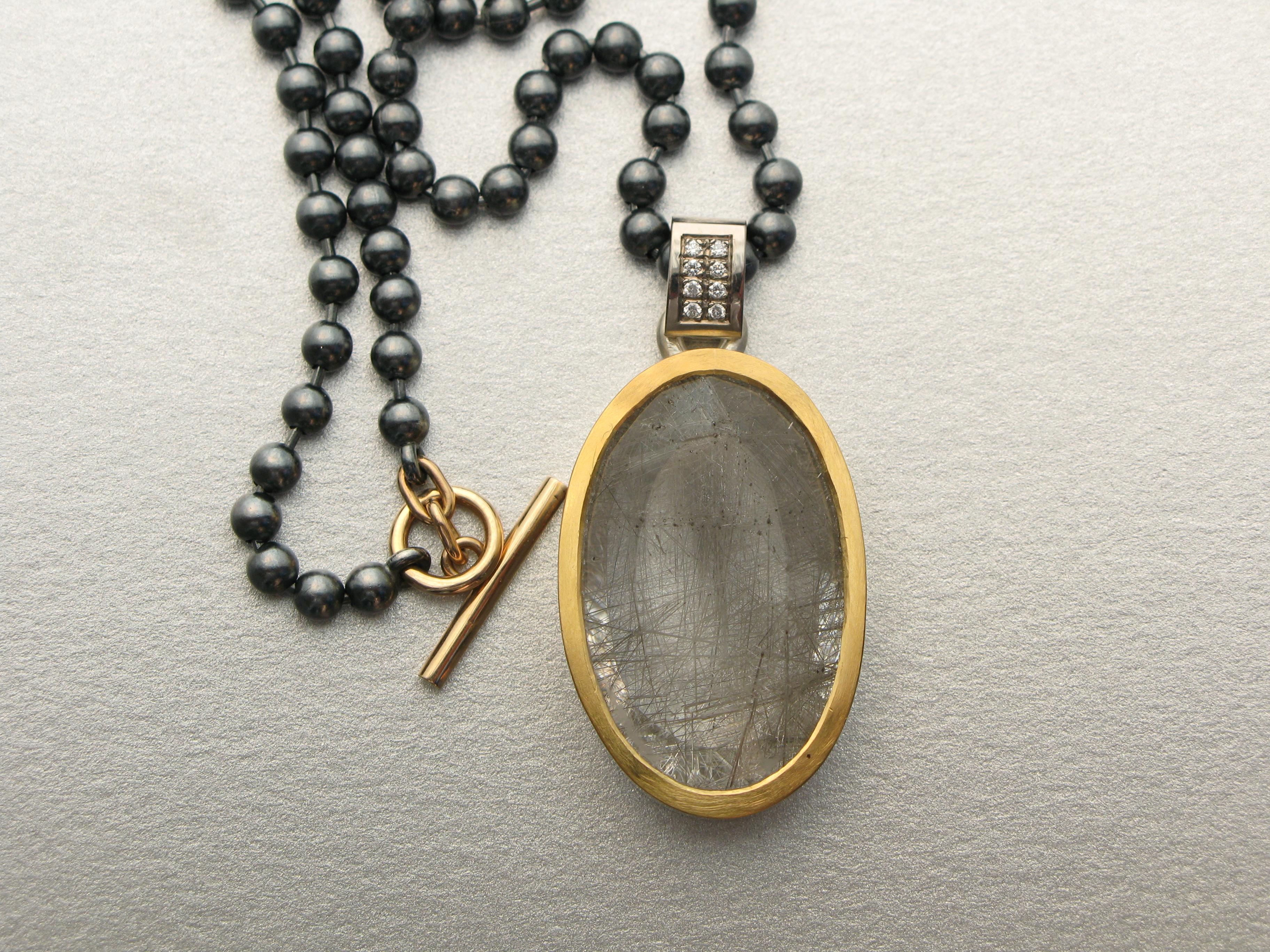 Hänge, silver, guld, rutilkvarts och diamanter