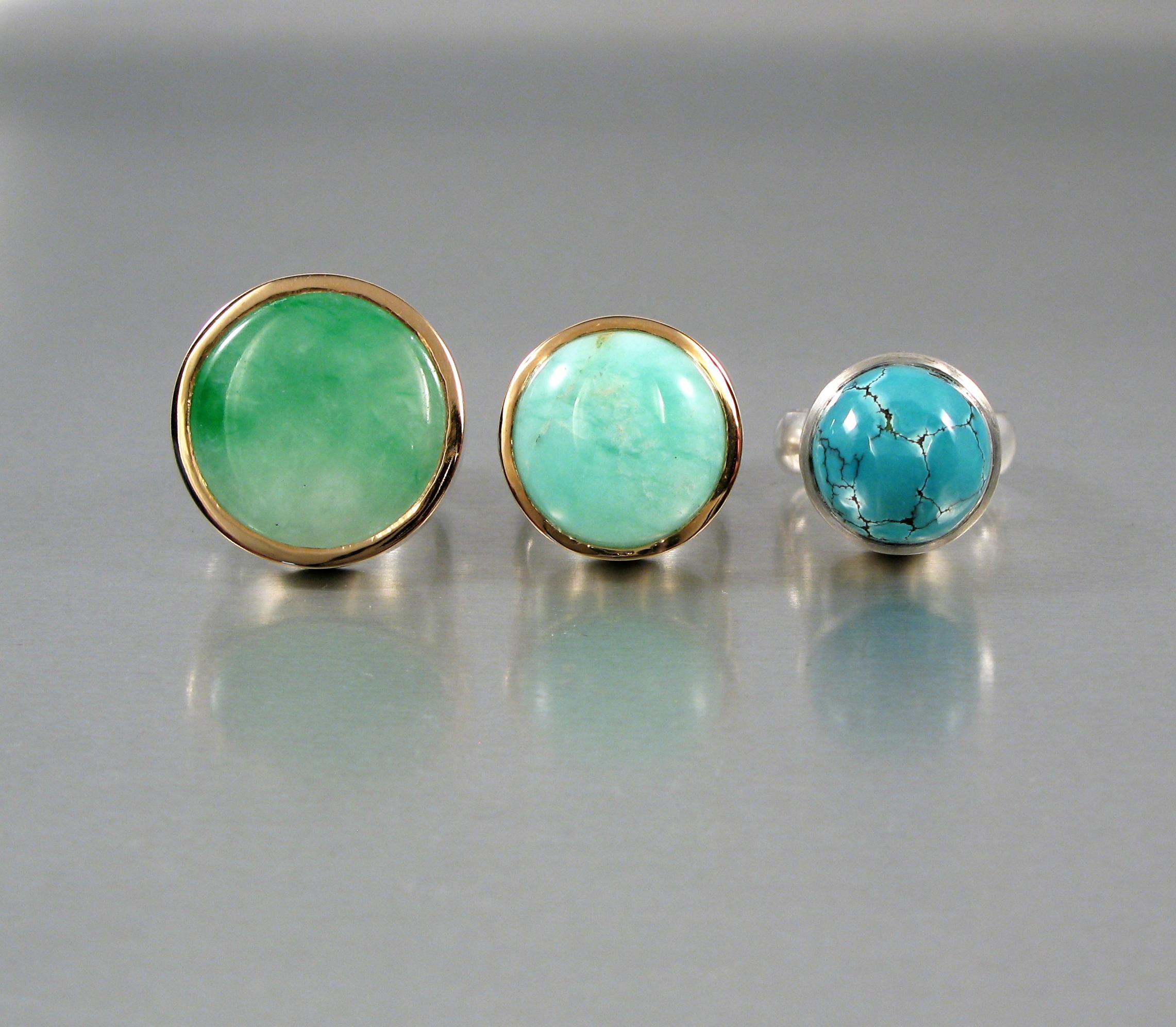"""Ring, """"Halslös"""", silver, guld, jade, amazonit och turkos."""